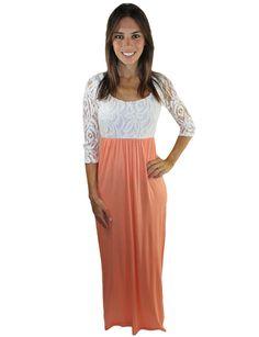 Lace Maxi Dress with Peach Bottom – Tessa