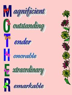 Happy mothers day card images. The photo reads M stands for magnificent, O stands for outstanding, T stands for tender, H stands for honorable, E stands for extraordinary and R stands for remarkable.