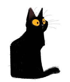 "dailycatdrawings: ""551: Black Cat Sketch Quick sketch with a weird brush I found in my collection. """