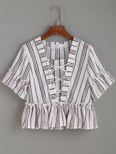 White Vertical Striped Print Lace Up Ruffle TopFor Women-romwe
