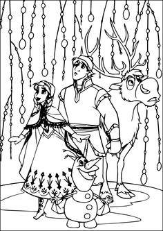 Anna Kristoff Sven And Olaf Go On A Journey To Bring Elsa Back Home Have Fun With This Amazing Disney Frozen Movie Coloring Page