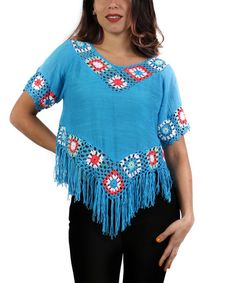This Turquoise & Coral Crochet Fringe Top is perfect! Crochet Fringe, Crochet Fabric, Crochet Cardigan, Crochet Lace, Crochet Flowers, Diy Clothing, Sewing Clothes, Crochet Clothes, Crochet Designs