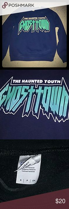 Ghost Town band crewneck sweatshirt *BOGO* ***part of the buy one get one 1/2 off band merch sale***  Ghost Town cute crew neck sweatshirt only worn a few times. A men's size small fits a women's size medium or large great! In brand new condition with no imperfections . Hot Topic Tops Sweatshirts & Hoodies