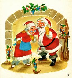 Mr & Mrs C by the fireplace Christmas Clipart, Disney Christmas, Retro Christmas, Christmas Art, Christmas Holidays, Father Christmas, Vintage Christmas Images, Christmas Pictures, Vintage Children's Books