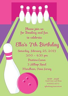 Bowling Invitation Bowling Party Invitations Girl By Wimbsy