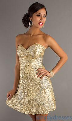 Strapless Sequin Dress by Scala at SimplyDresses.com