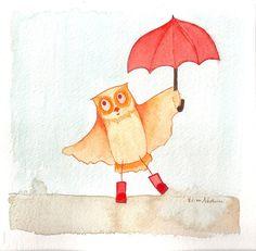 Children's Owl Artwork for Girls or Boys by ElissaSueWatercolors, $95.00