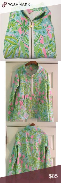 Lilly Pulitzer Coconut Jungle Skipper Popover Coconut Jungle skipper popover. Size Small. Very Good Condition. No shrinking/Fading. VERY SLIGHT hard to see piling under the arms as shown. See pictures for size chart & condition. Use the BUNDLE feature for discount. SHOP with confidence  5 STAR ratings Most items SHIP NEXT DAY Lilly Pulitzer Tops Sweatshirts & Hoodies