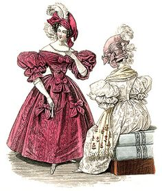 1834 fashion plate, bows on gown