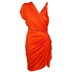 Preowned Gwyneth's Hot Lanvin Orange Draped Faux-wrap Dress (3 255 AUD) ❤ liked on Polyvore featuring dresses, cocktail dress, orange, orange dress, cap sleeve dress, grecian dress, red dress and red wrap dress