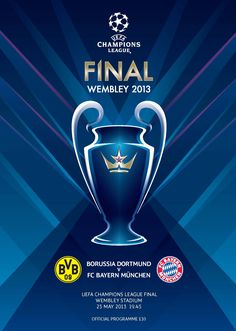 2013 UEFA Champions League Final Borussia Dortmund vs Bayern Munich Official Match Programme May 2013 Brand New Mint Condition Football Program, Football Kits, Football Soccer, Football Posters, Copa Champions League, Fc Hollywood, Liverpool Vs Manchester United, Germany Football, Poster