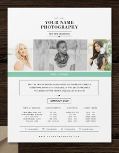 Price List Template Photographer Pricing by designbybittersweet