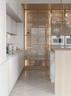 Apartment design - Галерея 3ddd.ru Kitchen Pantry Design, Luxury Kitchen Design, Luxury Kitchens, Interior Design Kitchen, Home Kitchens, Apartment Design, Apartment Kitchen, Apartment Interior, Cuisines Design