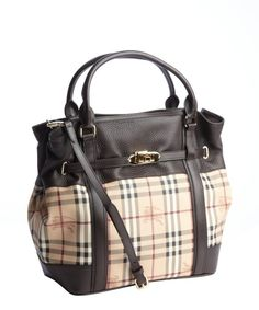 Burberry brown nova check and leather trimmed top handle bag