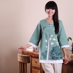 Lotus Painted Chinese Style Aesthetic Clothing Shirts Green