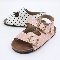 Polka dotted baby Birks, I'm in. #estella #kids #accessories