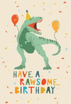 'Dinosaur fiesta' - Birthday card template you can print or send online as eCard for free.