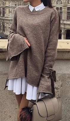 #cute #outfits Oversized Knit // White Shirt // White Skirt // Leather Tote Bag