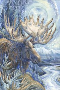 2014/ I See A Blue Moose A-Rising! - Bergsma Moose Pictures, Art Pictures, Native Art, Native American Art, Animal Paintings, Animal Drawings, Watercolor Paintings, Original Paintings, Blue Moose