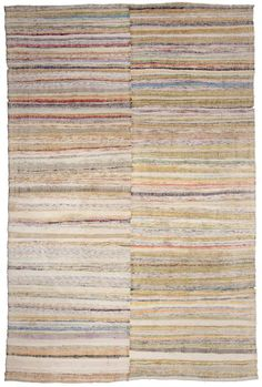 A Rag Rug BB4843  Circa: 1950  A mid Century Modern Rag Rug woven in Turkey with bands of irregular stripes. Multi colored.
