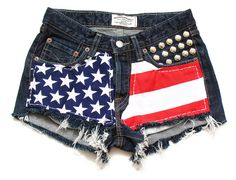 Medium rise denim american flag shorts S by deathdiscolovesyou, $40.00, american flag, american flag shorts, high waisted shorts, high waist shorts, high waist, high waisted, shorts, denim shorts, jean shorts, studded shorts, destroyed shorts, cut offs, cut off shorts, studding, studs, studded, shredded shorts, vintage, fashion, style, summer, cool, vintage, party, festival, pretty