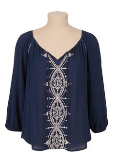 Embroidered flowy peasant top (original price, $29) available at #Maurices