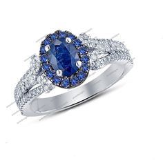 0.75 Carat 925 Silver Oval & Round Sapphire Solitaire With Accents Wedding…