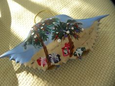 Decorated For Christmas 2 Palm Trees on The Beach with Presents Beneath,Handpainted Crab Shell Ornament by KrustyKrabsandKrafts on Etsy