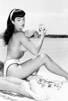 Bettie Page on the beach