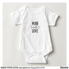 MADE WITH LOVE one-piece Baby Bodysuit. An adorable baby gift! DAILY DEALS! #madewithlove #madewithloveonesie #babyonepiece #onesie