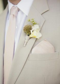 Vintage inspired boutonniere for the groom paired with a lovely khaki suit. Photo by Sarah Kate, Photographer #wedding #groom #attire #suite #boutonniere