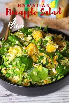 This simple easy Hawaiian Pineapple Salad is perfectly suited for any grilled meat or seafood! Healthy, easy and quick to make, it's a winner! #gardensalad #pineapplesalad Easy Salads, Easy Meals, Hawaiian Salad, Keto Recipes, Dinner Recipes, Pineapple Salad, Different Salads, Colby Cheese, Best Sandwich