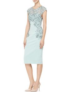 Lela Rose Cap-Sleeve Placed-Lace Dress - Neiman Marcus