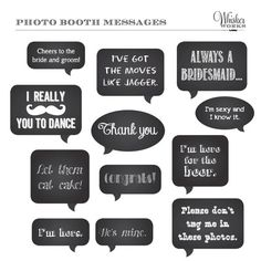 DIY Photo Booth Printables - Chalkboard Signs - WEDDING