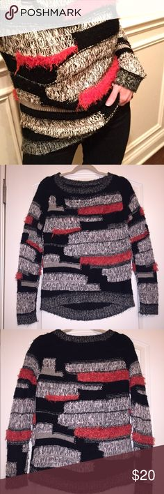 Eyelash Patchwork Dex Sweater Lightly worn. No rips or stains. Fits oversized so with fit XS-M. Model in picture 1 is 5'2/110lbs; sweater is tucked. No trades. Offers welcome. Consider bundling for 15% off. I have many $5 listings. Urban Outfitters Sweaters Crew & Scoop Necks
