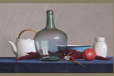 Still Life with a Red Apple and Sumac, oil on canvas, 16 x 26 inches