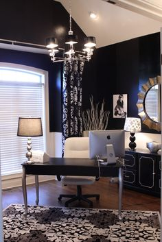 Home Office Decor: absolutely love the dark blue walls. Wonder what my office building would say about me sneaking in one night and painting my office a dark color. Or chalkboard paint!