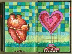 Heart To Heart gel pens in sketch book