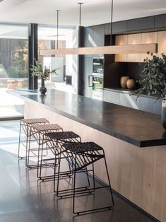 Have you considered using some black in your next interior scheme? Be inspired to see how an accent of black can transform your next interior colour scheme. Interior Color Schemes, Kitchen Colour Schemes, Dark Interiors, Colorful Interiors, Black Hallway, Black Curtain Rods, Timber Dining Table, Natural Flooring, Dark Furniture