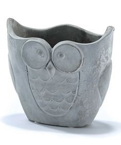 Owl Cement Flower Pot 6'' W x 5.25'' H 9.99