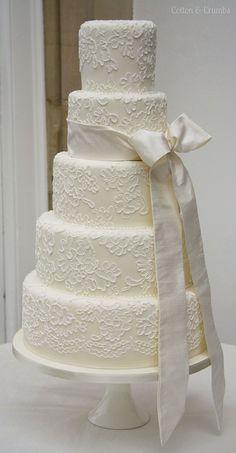 brush embroidered wedding cake by Cotton & Crumbs brush embroidered wedding cake by Cotton and Crumbs on . White Wedding Cakes, Elegant Wedding Cakes, Beautiful Wedding Cakes, Wedding Cake Designs, Beautiful Cakes, Dream Wedding, Wedding Dress, Elegant Cakes, Purple Wedding