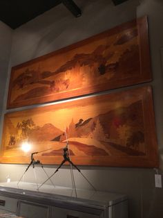 Just bought an Art Deco wall panel but these caught my eye too. Extraordinary Huge Art Deco Marquetry Wall Panels with Lavarenne Bronzes in the foreground Deco Wall, Art Deco, Marquetry, Showroom, Guitars, Bronze, Eye, Painting, Paintings