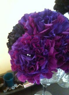 DIY tissue paper centerpiece..tutorial included NOW! :  wedding black centerpiece diy flowers purple reception tissue paper Newflow4