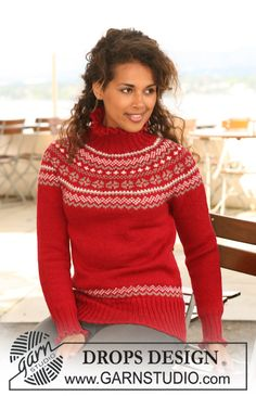"""Merry Casandra - DROPS jumper in """"Karisma"""" with circular yoke and Norwegian pattern. Size XS to XXXL - Free pattern by DROPS Design Fair Isle Knitting Patterns, Jumper Patterns, Fair Isle Pattern, Knit Patterns, Drops Design, Tejido Fair Isle, Laine Drops, Pull Jacquard, Christmas Knitting"""