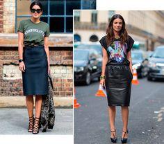 Street style look com camiseta e saia lápis.