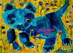 Art - Blue Cat in Field oil painting by Melissa Bee
