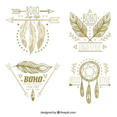 Fantastic pack of logos with decorative feathers Free Vector