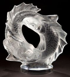 LALIQUE CLEAR AND FROSTED GLASS DEUX POISSONS  STATUETTE  Post 1945  Engraved: Lalique, France  11 inches high (27.9 cm)