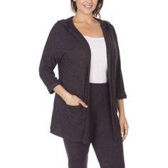Plus Size Plus Moda Women's Plus Hoodie Knit Cardigan, Size: 1XL, Black