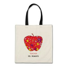 Apple For Teacher Budge Tote Bag - monogram gifts unique design style monogrammed diy cyo customize